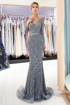 MAVIS | Mermaid Long Sleeves V-neck Sequins Evening Gowns with Sash_7