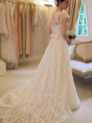 Свадебные платья с кружевным кружевом с короткими рукавами_3