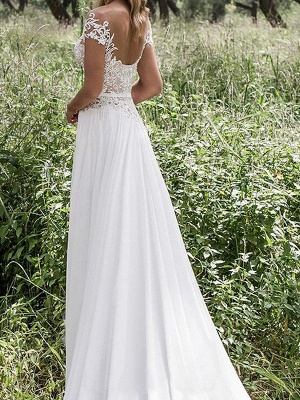 Sleeveless V-neck Lace Chiffon A-Line Floor-Length Wedding Dresses_3