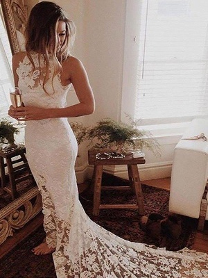 Lace Mermaid Sleeveless Halter Chapel Train Wedding Dresses_1