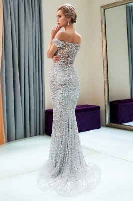 MAUDE | Mermaid Off-the-shoulder Long Sequins Silver Evening Gowns_3