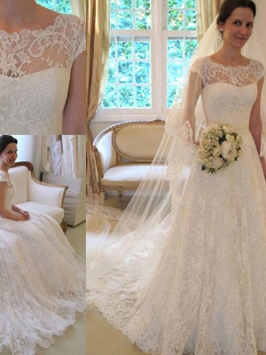 Свадебные платья с кружевным кружевом с короткими рукавами_4