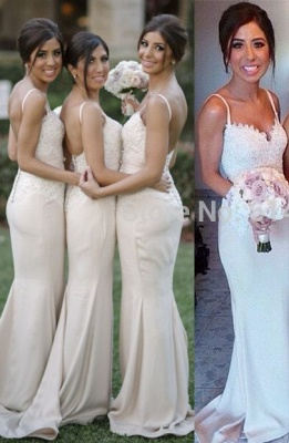 Spaghetti Strap Mermaid Floor Length Bridesmaid Dresses Open Back Lace Wedding Party Dresses BO9564_4