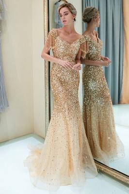 MELISSA | Mermaid Off-the-shoulder V-neck Floor Length Sequins Evening Dresses_15