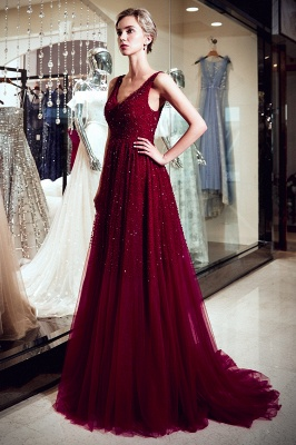 MELANIE | A-line Long V-neck Sleeveless Burgundy Sequins Tulle Evening Dresses_4