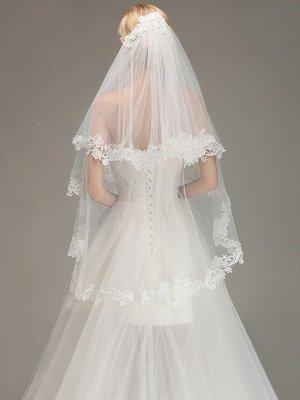 Borde de encaje velo de novia con peine dos capas tul velo de novia