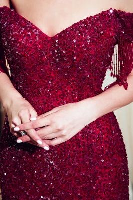 MELISSA | Sereia Off-a-ombro com decote em v Até o chão Vestidos de noite lantejoulas_9