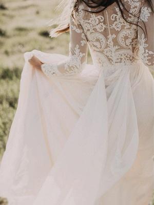Manches longues -parole longueur appliques tulle une ligne robes de mariée scoop_5