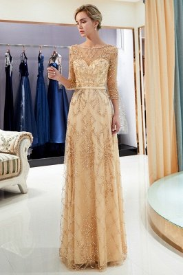 MELODY | A-line Illusion Neckline Long Beading Evening Gowns with Sleeves_23