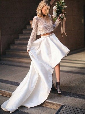 Two Piece A-Line Satin Long Sleeves Lace Scoop Sweep Train Wedding Dresses_1