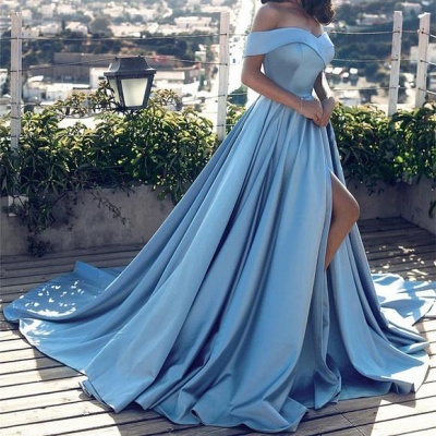 Blue Off-the-Shoulder Prom Dress | Long Evening Gowns With Slit BA8863_4