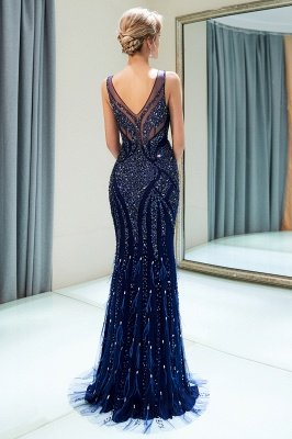 MATHILDA | Mermaid Sleeveless V-neck Sequins Pattern Long Evening Gowns_3