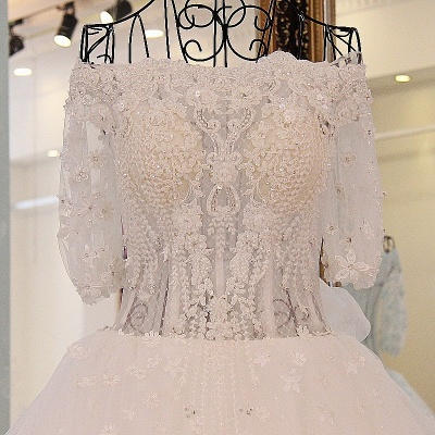 3/4 Sleeves Applique A-Line Ball Gown Off-The-Shoulder Bow Prom Dresses_5