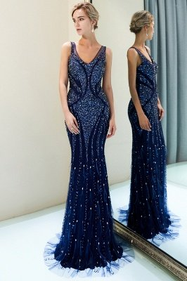 MATHILDA | Mermaid Sleeveless V-neck Sequins Pattern Long Evening Gowns
