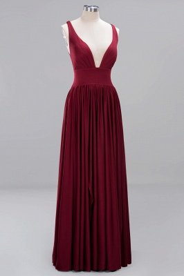 A-Line Jersey V-Neck Sleeveless Long Bridesmaid with Ruffles_7