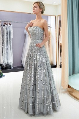 MARJORY | A-line Floor Length Strapless Sequined Chiffon Party Dresses
