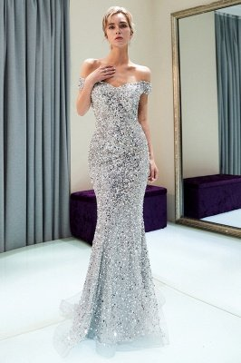 MAUDE | Mermaid Off-the-shoulder Long Sequins Silver Evening Gowns_9