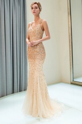 MAY | Mermaid Floor Length V-neck Sleeveless Crystals Beading Formal Party Dresses