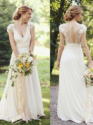 Floor-Length A-Line Ruched Chiffon V-neck Short Sleeves Wedding Dresses_1