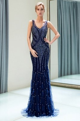 MATHILDA | Mermaid Sleeveless V-neck Sequins Pattern Long Evening Gowns_4