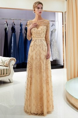 MELODY | A-line Illusion Neckline Long Beading Evening Gowns with Sleeves_26