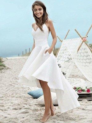 Sleeveless A-Line Asymmetrical Satin Spaghetti Straps Ruched Wedding Dresses_1