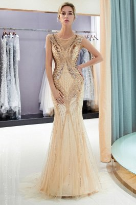 MAUD | Mermaid Sleeveless Golden Sequins Beading Formal Party Dresses