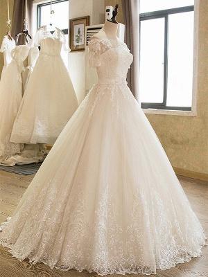Palabra de longitud apliques vestido de novia | fuera del hombro de encaje de tul con medias mangas_4
