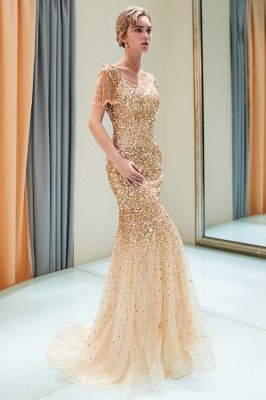 MELISSA | Mermaid Off-the-shoulder V-neck Floor Length Sequins Evening Dresses_2