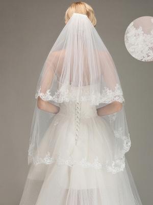 Dos capas de tul apliques peine velo de novia