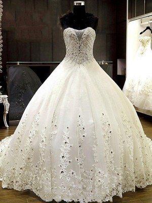 Cathedral Train Tulle Ball Gown Rhinestone Sweetheart Sleeveless Wedding Dresses