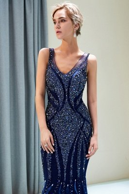 MATHILDA | Mermaid Sleeveless V-neck Sequins Pattern Long Evening Gowns_10