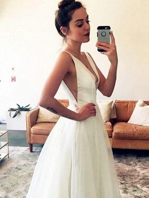 Sleeveless A-Line V-neck Ruched Tulle Sweep Train Wedding Dresses