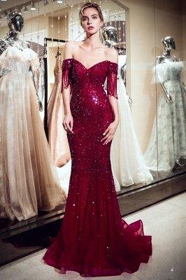 MELISSA | Mermaid Off-the-shoulder V-neck Floor Length Sequins Evening Dresses_5