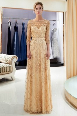MELODY | A-line Illusion Neckline Long Beading Evening Gowns with Sleeves_1