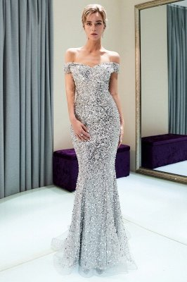 MAUDE | Mermaid Off-the-shoulder Long Sequins Silver Evening Gowns