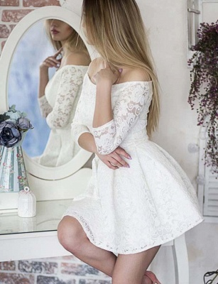 Glamorous Long Sleeves A-Line Lace Off-the-Shoulder Mini Prom Dress_3