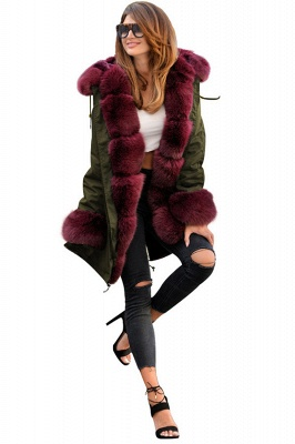 Winter Autumn Faux Fur Overcoat Hooded Parka Casual Jacket_4