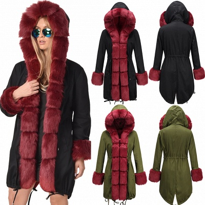 Winter Autumn Faux Fur Overcoat Hooded Parka Casual Jacket_6