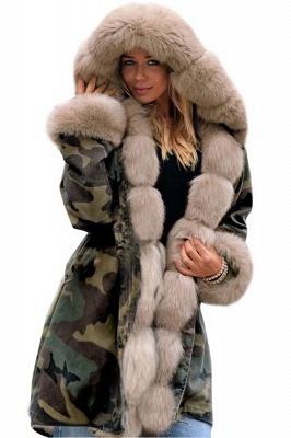 Beautiful Warm Winter Hooded Outwear Faux Fur Camouflage Long Sleeves_2