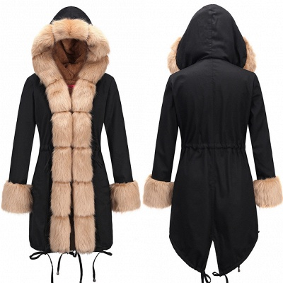 Pretty Overcoat Long Sleeves Faux Fur Winter Lining Coats_10
