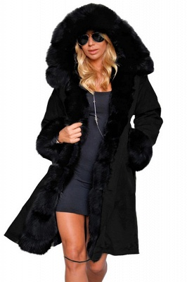 Puffer Long Sleeves Faux Fur Thicker Down Jacket Trimmed Hooded_1