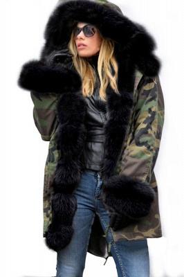 Beautiful Warm Winter Hooded Outwear Faux Fur Camouflage Long Sleeves_3