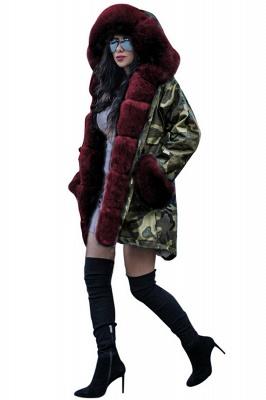 Beautiful Warm Winter Hooded Outwear Faux Fur Camouflage Long Sleeves_7