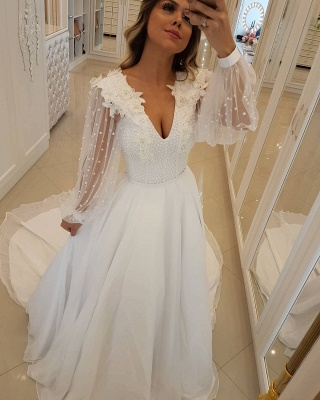 Fashion Long Sleeves Beading Tulle A-Line Flower Prom Dress_1