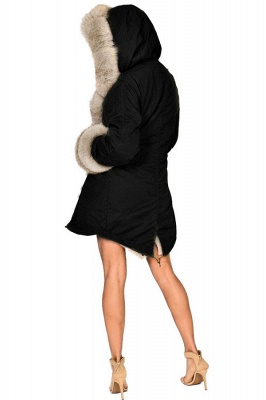 Pretty Overcoat Long Sleeves Faux Fur Winter Lining Coats_7