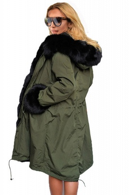 Puffer Long Sleeves Faux Fur Thicker Down Jacket Trimmed Hooded_4