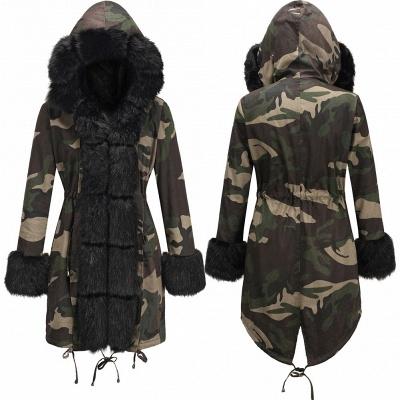 Beautiful Warm Winter Hooded Outwear Faux Fur Camouflage Long Sleeves_10
