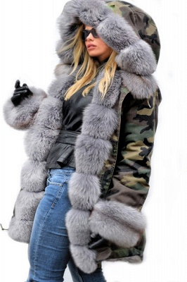 Beautiful Warm Winter Hooded Outwear Faux Fur Camouflage Long Sleeves_4
