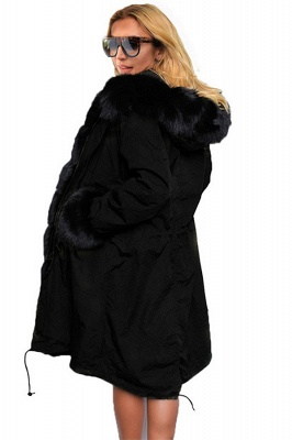 Puffer Long Sleeves Faux Fur Thicker Down Jacket Trimmed Hooded_6